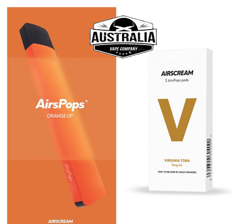 Airscream AirsPops Starter Kit ORANGE (with Virginia Toba Pods Pack) - NEW LOOK - Australia Vape Company