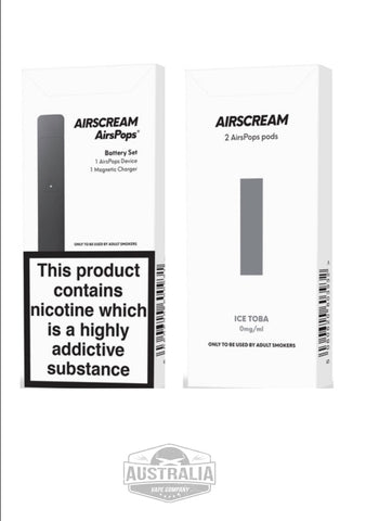 AIRSCREAM AirsPops Starter Kit (with Ice Toba Pods Pack) - NEW Look - Australia Vape Company