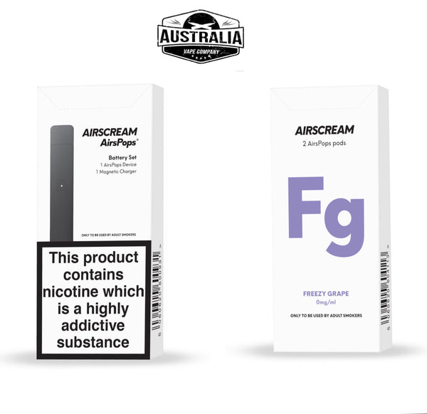 AIRSCREAM AirsPops Starter Kit (with Freezy Grapes Pods Pack) - Australia Vape Company