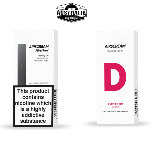 Airscream AirsPops Starter Kit (with Dornish Red Pods Pack) - NEW LOOK - Australia Vape Company