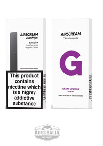 Airscream AirsPops Starter Kit (with Grape Cignac Pods Pack) - NEW Look - Australia Vape Company