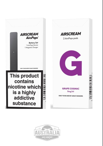 Airscream AirsPops Starter Kit (with Grape Cognac Pods Pack) - NEW Look - Australia Vape Company