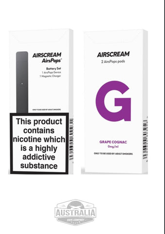 AIRSCREAM AirsPops Starter Kit (with Grape Cignac Pods Pack) - NEW Look