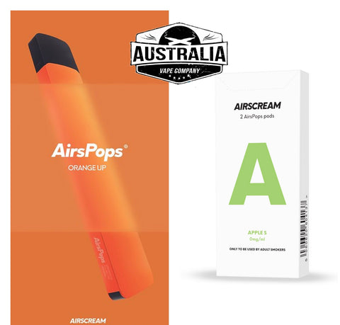 Airscream AirsPops Starter Kit ORANGE (with Apple S Pods Pack) - NEW LOOK - Australia Vape Company