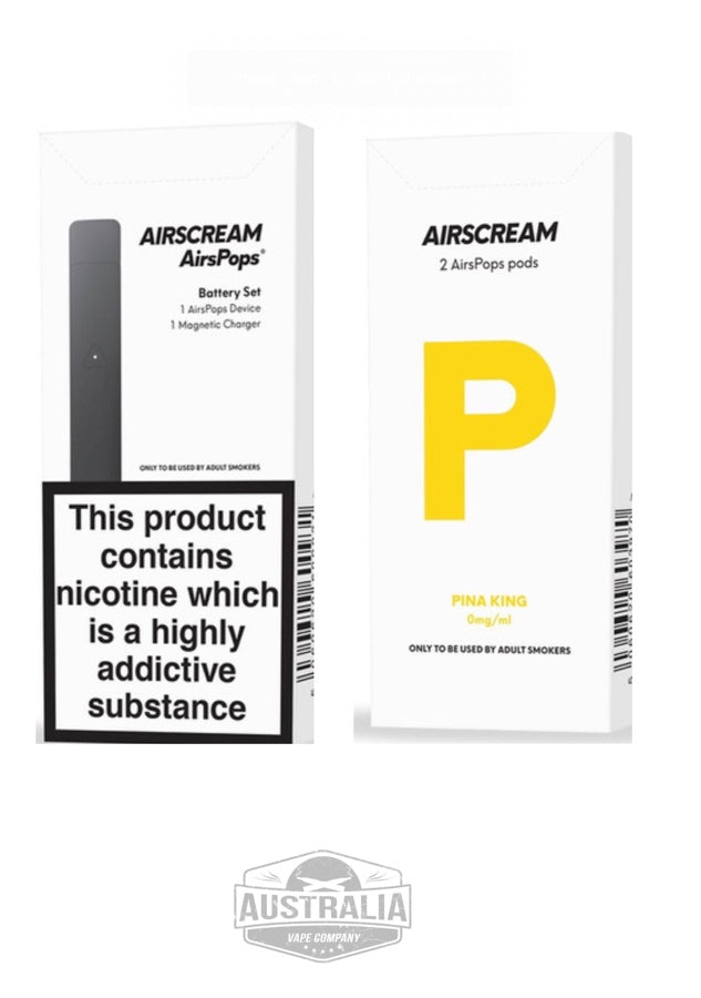 AIRSCREAM AirsPops Starter Kit (with PIÑA KING Pods Pack) - Australia Vape Company