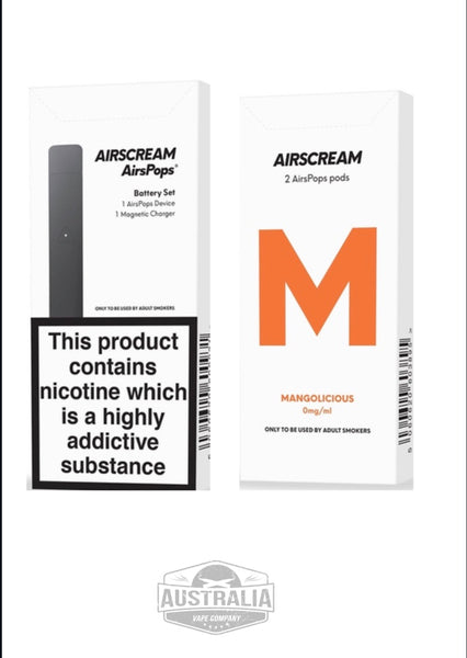 AIRSCREAM AirsPops Starter Kit (with Mangolicious Pods Pack) - NEW Look - Australia Vape Company