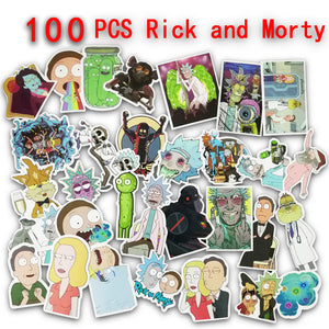 100pcs Rick and Morty Sticker On Car Wallpaper Decal Motorcycle Fridge Skateboard