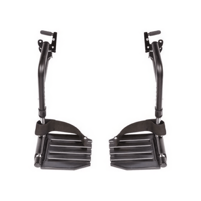 Invacare Wheelchair Hemi Footrests with Aluminum Footplates And Heel Loops - Sold as Pair (T93HAP)