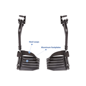 Invacare Wheelchair Hemi Footrests with Aluminum Footplates And Heel Loops - Sold as Pair (T93HAP) - sold by Dansons Medical - Wheelchair Footrests manufactured by Invacare