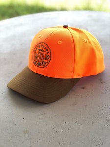Duck cloth and blaze orange hats