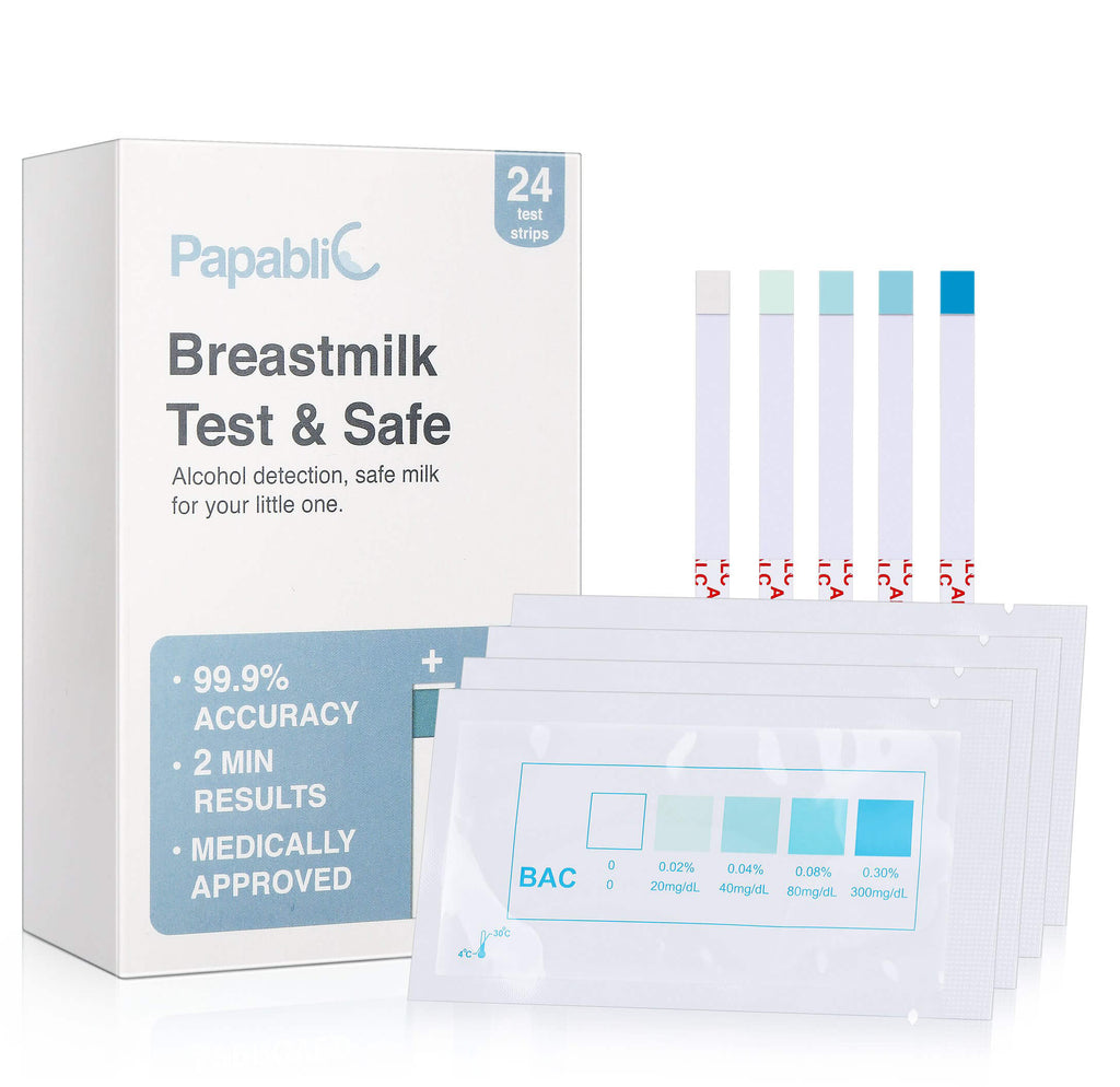 Papablic 24-Count Test & Safe Breastmilk Alcohol Test Strips, 2-min Quick & Precise Detection for Alcohol in Breastmilk, White