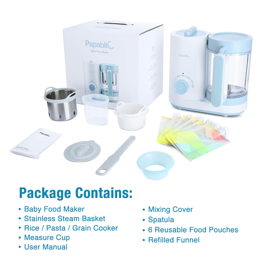 Papablic All-in-1 Baby Food Maker, Steam Cooker & Blender, Puree Grinder, Comes with 6 Reusable Meal Storage Pouches