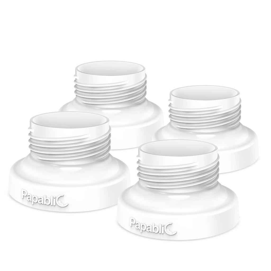 Papablic Direct Pump Bottle Adapter, for Spectra S1 S2, Avent Breast Pumps to Use with Comotomo Baby Bottles, 4 Pack