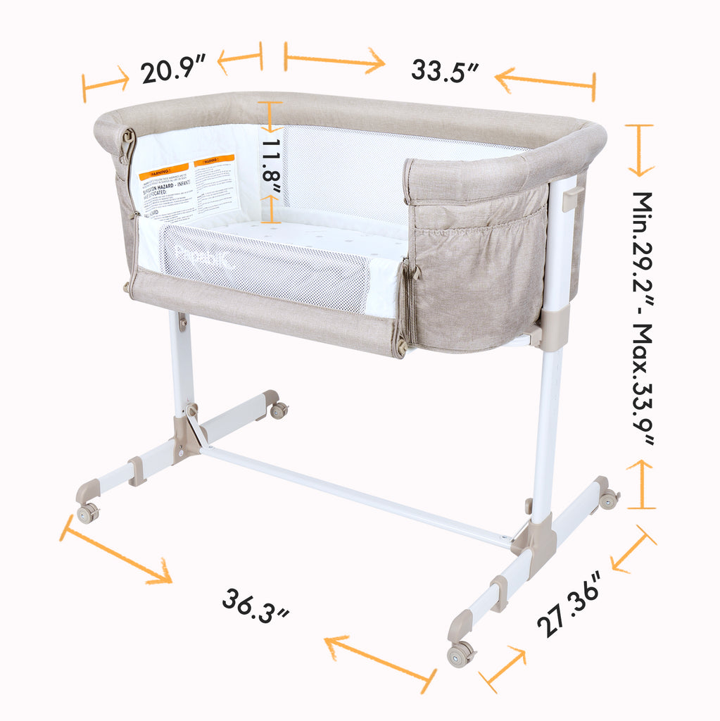 Papablic 2-in-1 Anio Baby Bassinet & Bedside Sleeper, Brown