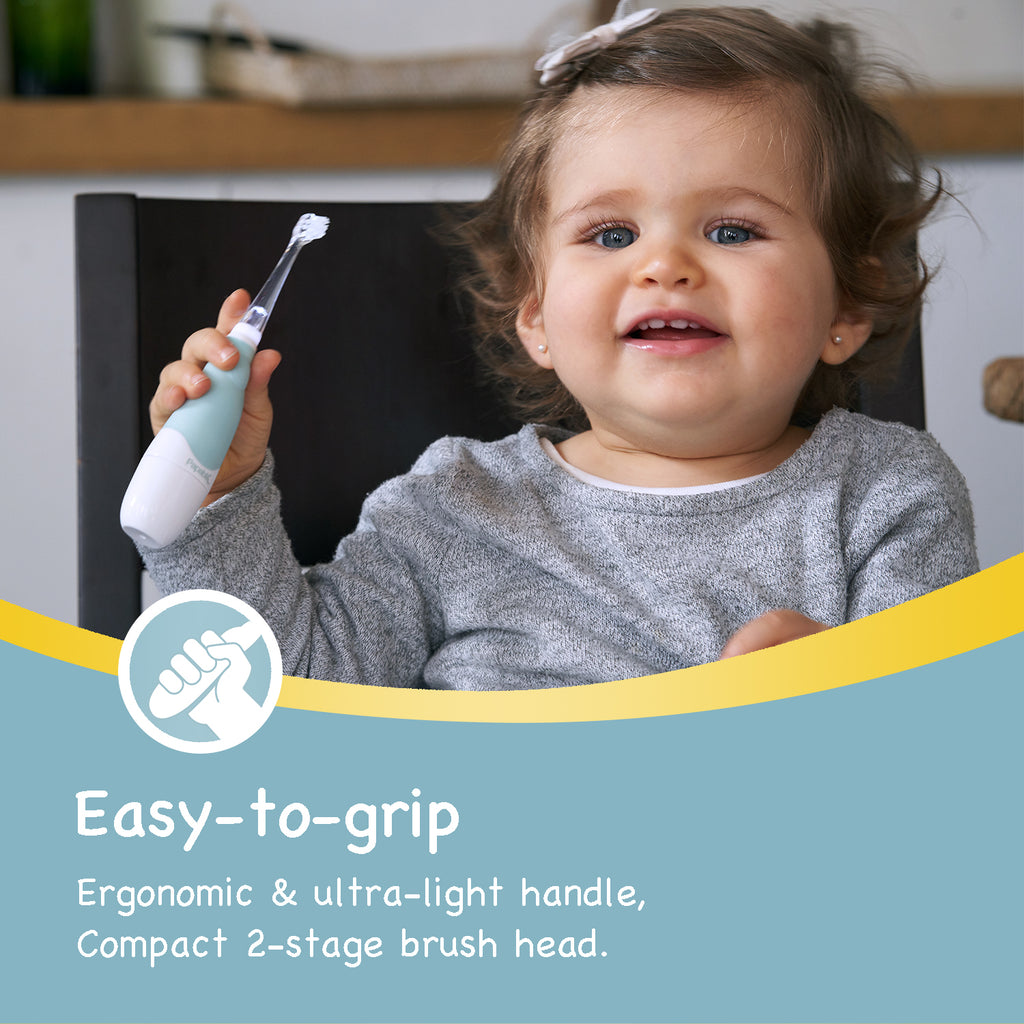 Mint Blue BabyHandy 2-Stage Sonic Electric Toothbrush - Papablic INC.