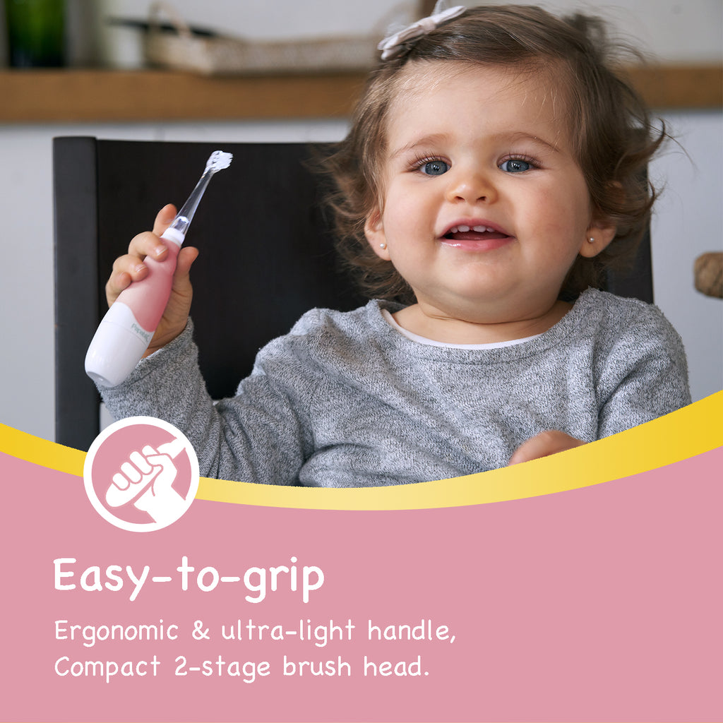 Pink BabyHandy 2-Stage Sonic Electric Toothbrush - Papablic INC.