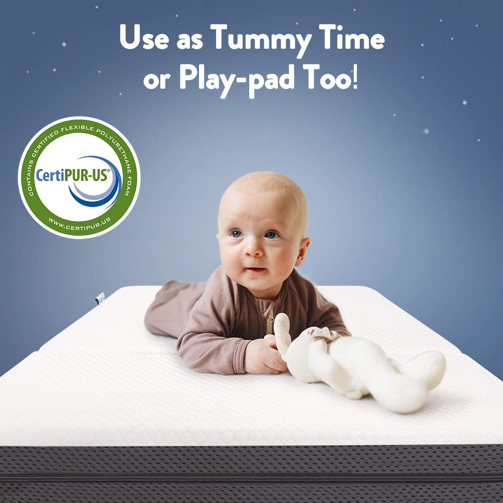 Papablic Tri-fold Pack and Play Mattress | Dual Sided Mattress for Babies and Toddlers | Unique Cooling System | Portable Foldable Playard Mattress for Most Pack N Play Playpens, Includes Carry Bag