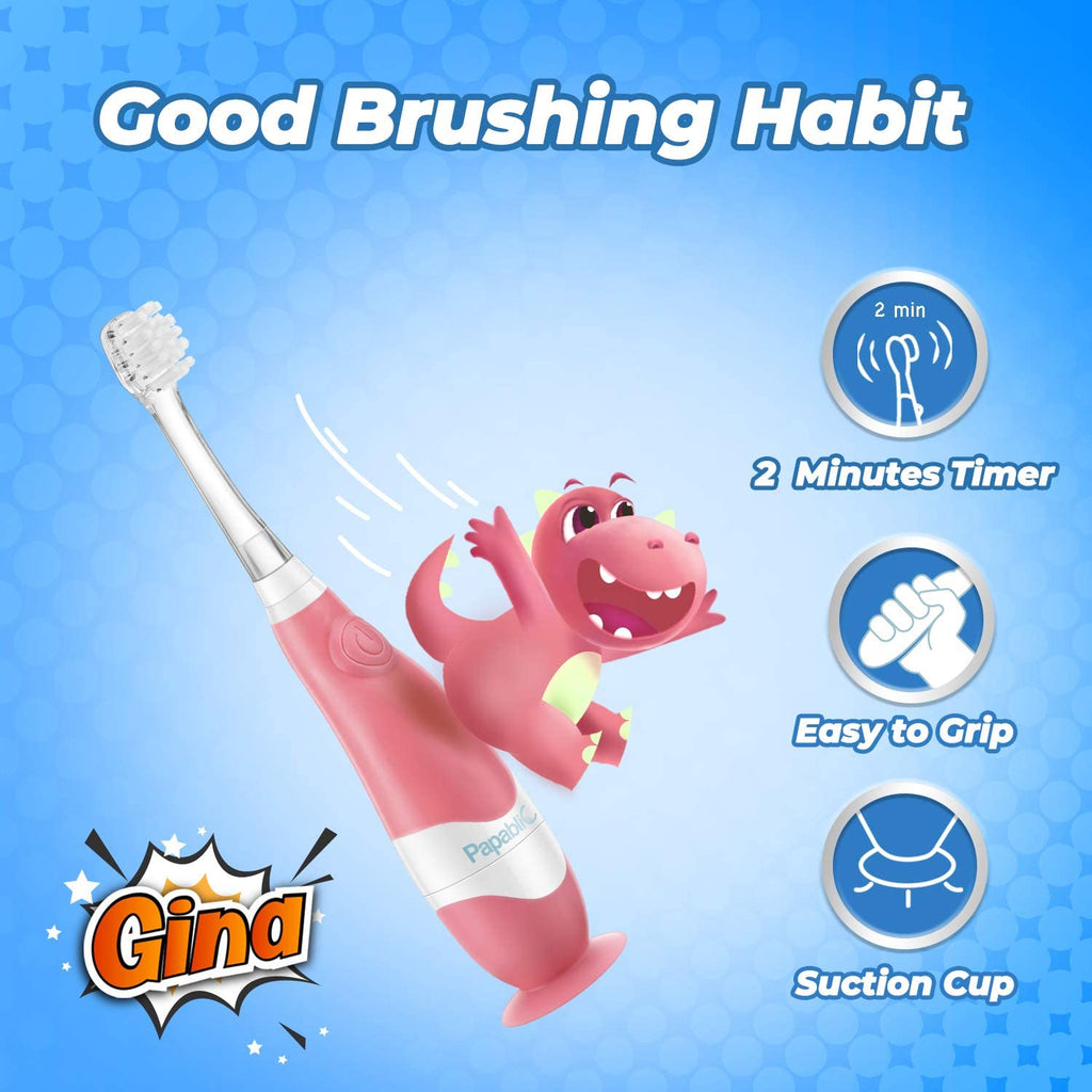 Papablic Gina Toddler Sonic Electric Toothbrush with Cute Dino Covers for Babies and Toddlers Ages 1-3 Years