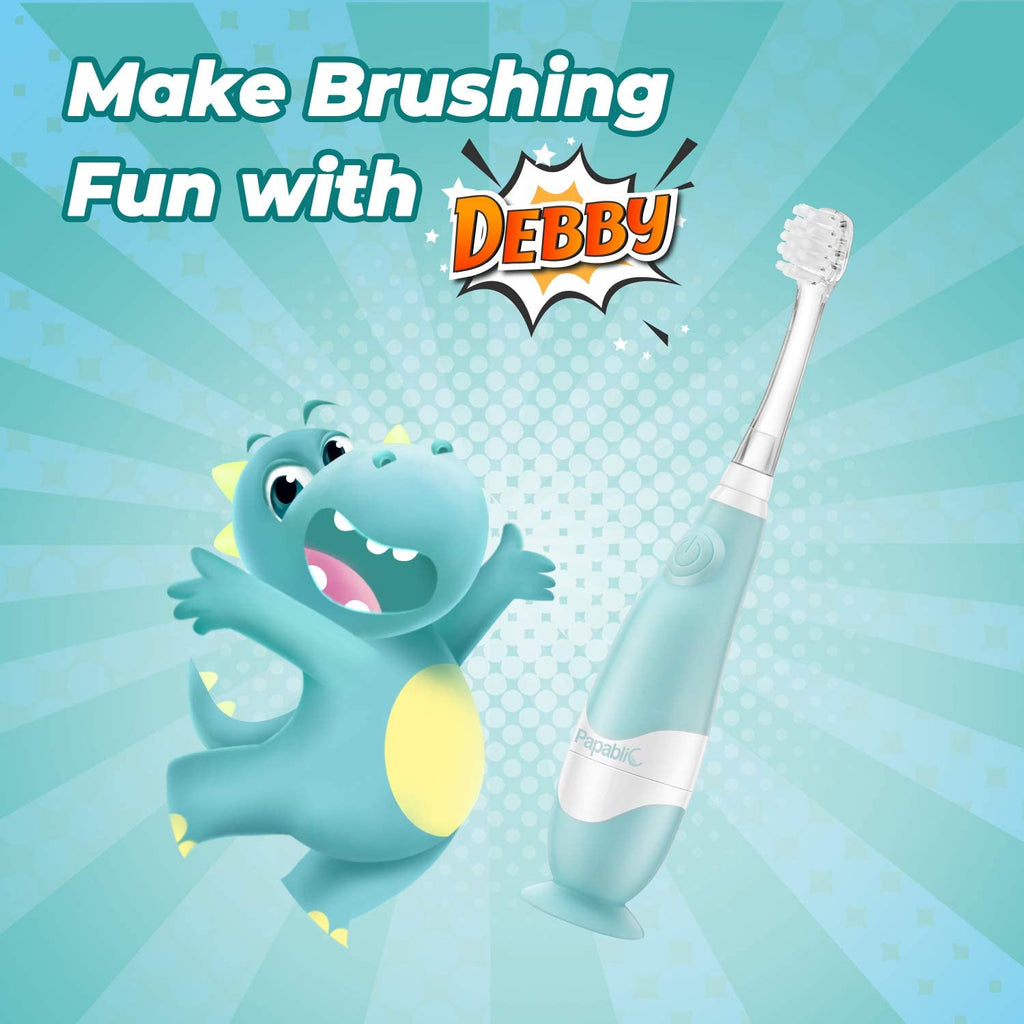 Papablic Debby Toddler Sonic Electric Toothbrush with Dino Covers for Babies and Toddlers Ages 1-3 Years
