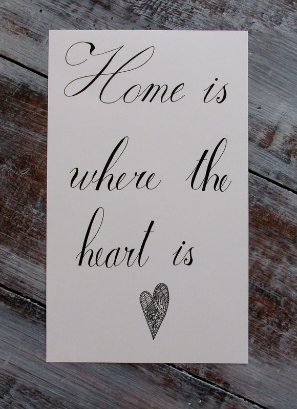30% off Winter Deal! 'Home is where the heart is' Hand-drawn Original Calligraphy Sign