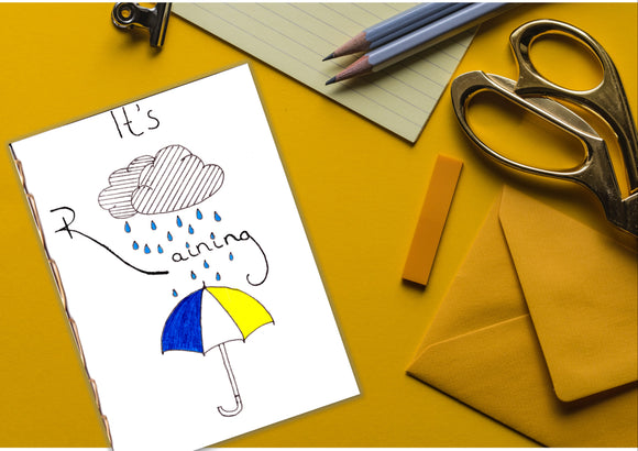 Limited Edition 'It's Raining' Hand-painted A6 Waterproof Tyvek Notepad Tyvek Paper Waterproof Notepad Indestructible Notepad