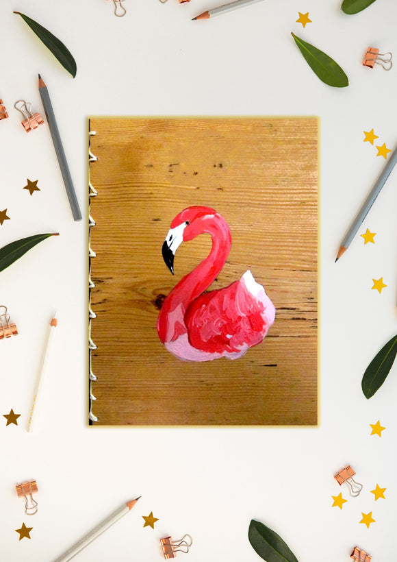 The Flamboyant Flamingo Handmade and Hand-painted Wood-effect Notepad