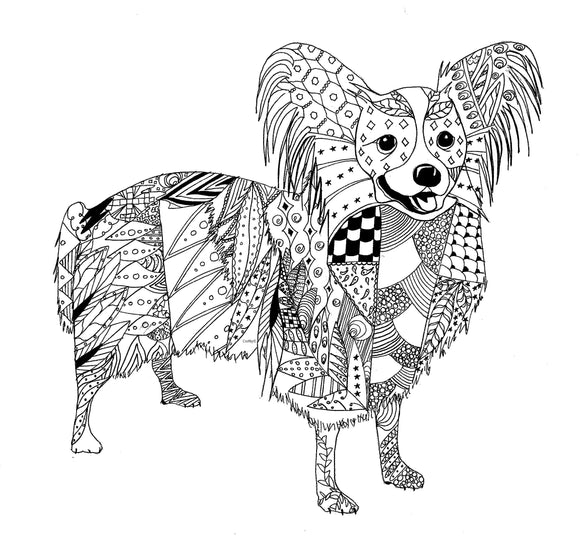 Original Art Custom Zentangle Pet Portrait