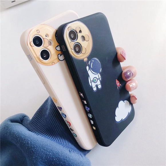Side Cartoon Astronaut Silicone Soft Phone Case Back Cover for iPhone 12 Pro Max/12 Pro/12/12 Mini/SE/11 Pro Max/11 Pro/11/XS Max/XR/XS/X/8 Plus/8/7 Plus/7