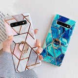 Ladycases - Phone Case Expert - Artistic Geometric Marble Texture with Ring Holder Soft TPU Phone Case Back Cover for Samsung Galaxy S20 Ultra/S20 Plus/S20/S10E/S10 Plus/S10/S9 Plus/S9/S8 Plus/S8/Note 9/Note 8