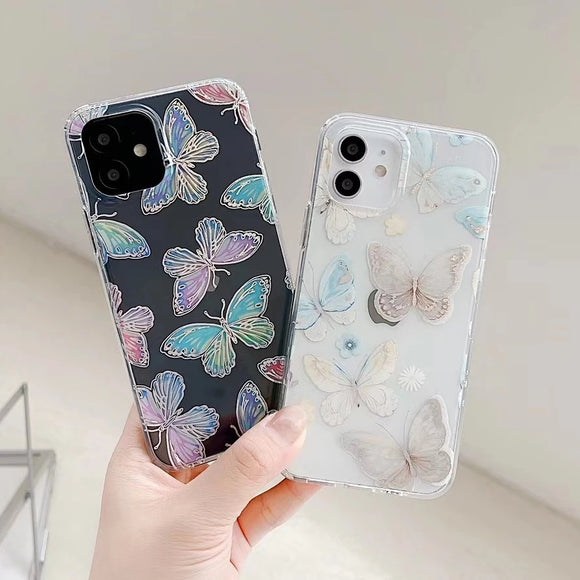 Cute Glitter Laser Butterfly Clear Soft iPhone Case