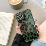 Green Leopard Soft Phone Case Back Cover for iPhone 12 Pro Max/12 Pro/12/12 Mini/SE/11 Pro Max/11 Pro/11/XS Max/XR/XS/X/8 Plus/8/7 Plus/7