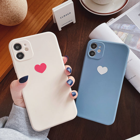 Love Heart Couple Soft Phone Case Back Cover for iPhone 12 Pro Max/12 Pro/12/12 Mini/SE/11 Pro Max/11 Pro/11/XS Max/XR/XS/X/8 Plus/8/7 Plus/7