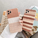 Warm Striped Knit Plush Soft Phone Case Back Cover for iPhone 12 Pro Max/12 Pro/12/12 Mini/SE/11 Pro Max/11 Pro/11/XS Max/XR/XS/X/8 Plus/8/7 Plus/7