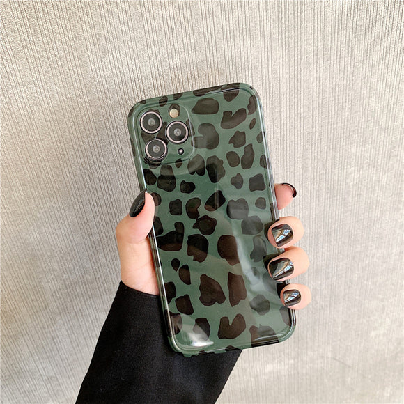 Green Leopard Soft Phone Case Back Cover for iPhone 12 Pro Max/12 Pro/12/12 Mini/11 Pro Max/11 Pro/11/XS Max/XR/XS/X/8 Plus/8/7 Plus/7