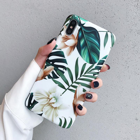 Ladycases - Phone Case Expert - Art Flowers Leaf IMD Phone Case Back Cover for iPhone SE/11 Pro Max/11 Pro/11/XS Max/XR/XS/X/8 Plus/8/7 Plus/7/6s Plus/6s/6 Plus/6