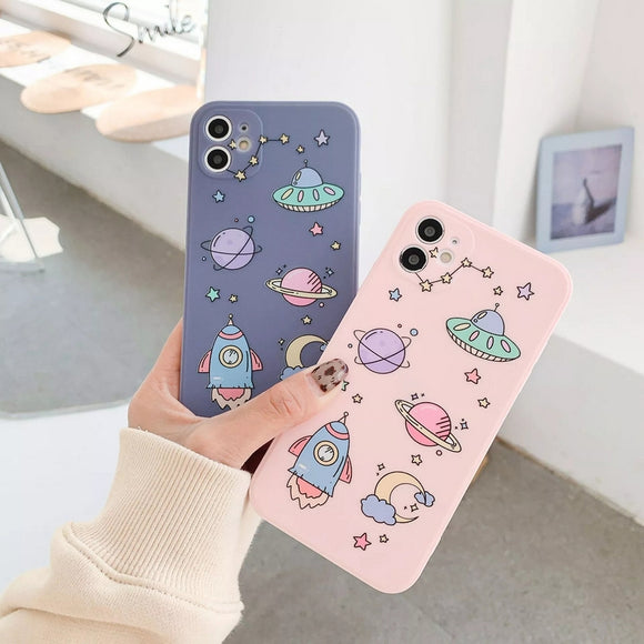 Cartoon Graffiti Spaceship Cosmic Starry Soft Phone Case Back Cover for iPhone 12 Pro Max/12 Pro/12/12 Mini/11 Pro Max/11 Pro/11/XS Max/XR/XS/X/8 Plus/8/7 Plus/7