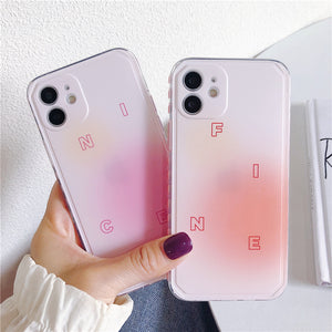 Cute Gradient Powder Silicone Clear Soft iPhone Case