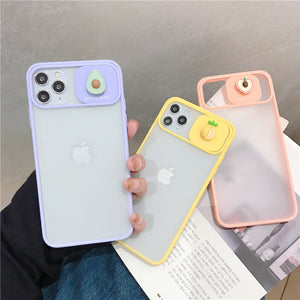 Candy Color Fruit Slide Camera Lens Protector Matte Soft Silicone Phone Case Back Cover for iPhone SE/11 Pro Max/11 Pro/11/XS Max/XR/XS/X/8 Plus/8/7 Plus/7