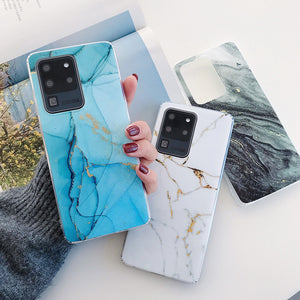Vintage Marble Soft Phone Case Back Cover for Samsung Galaxy S20 Ultra/S20 Plus/S20/S10E/S10 Plus/S10/S9 Plus/S9/S8 Plus/S8/Note 20 Ultra/Note 20/Note 10 Plus/Note 10