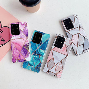 Geometric Patchwork Marble Soft Phone Case Back Cover for Samsung Galaxy S20 Ultra/S20 Plus/S20/S10E/S10 Plus/S10/S9 Plus/S9/S8 Plus/S8/Note 20 Ultra/Note 20/Note 10 Plus/Note 10