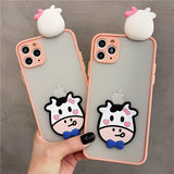 3D Cute Cow Transparent  Matte Soft iPhone Case