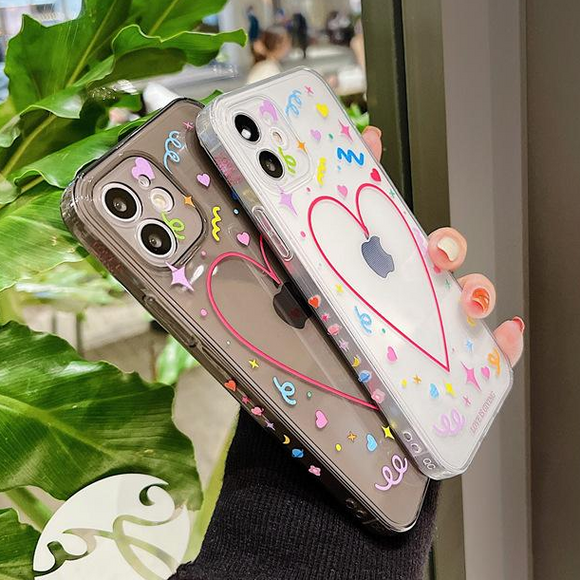 Side Graffiti Love Heart Clear Soft Phone Case Back Cover for iPhone 12 Pro Max/12 Pro/12/12 Mini/SE/11 Pro Max/11 Pro/11/XS Max/XR/XS/X/8 Plus/8/7 Plus/7
