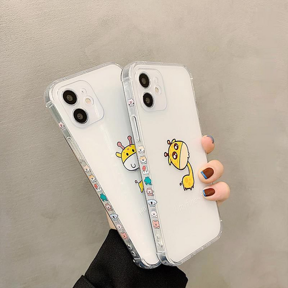Side Cartoon Giraffe Clear Soft Phone Case Back Cover for iPhone 12 Pro Max/12 Pro/12/12 Mini/SE/11 Pro Max/11 Pro/11/XS Max/XR/XS/X/8 Plus/8/7 Plus/7
