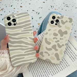 Leopard Print Zebra Pattern Silicone Soft iPhone Case