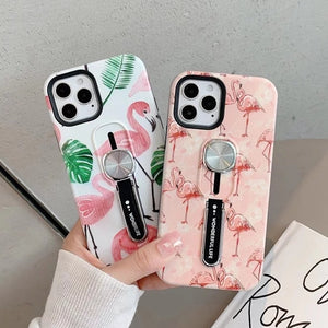 Luxury Flamingo Stand Magnetic Holder Soft Phone Case Back Cover for iPhone 12 Pro Max/12 Pro/12/12 Mini/SE/11 Pro Max/11 Pro/11/XS Max/XR/XS/X/8 Plus/8/7 Plus/7