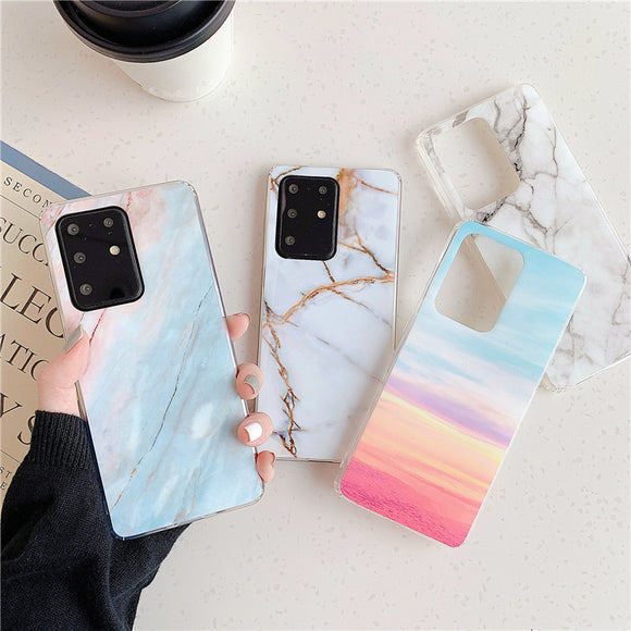 Simple Glossy Marble Fissure Soft Phone Case Back Cover for Samsung Galaxy S20 Ultra/S20 Plus/S20/S10E/S10 Plus/S10/S9 Plus/S9/S8 Plus/S8/Note 20 Ultra/Note 20/Note 10 Plus/Note 10