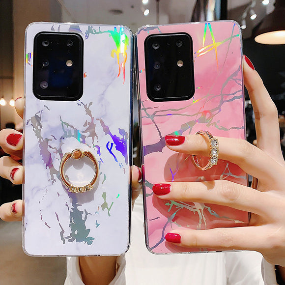 Luxury Marble Ring Holder Phone Case Back Cover for Samsung Galaxy S20 Ultra/S20 Plus/S20/S10E/S10 Plus/S10/S9 Plus/S9/S8 Plus/S8/Note 20 Ultra/Note 20/Note 10 Pro/Note 10/Note 9/Note 8
