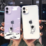 Cartoon Space Astronaut Transparent Soft Phone Case Back Cover for iPhone 12 Pro Max/12 Pro/12/12 Mini/SE/11 Pro Max/11 Pro/11/XS Max/XR/XS/X/8 Plus/8/7 Plus/7