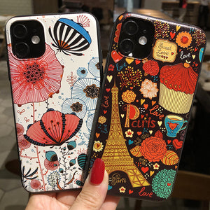 3D Relief Painting Phone Case Back Cover for iPhone 12 Pro Max/12 Pro/12/12 Mini/SE/11 Pro Max/11 Pro/11/XS Max/XR/XS/X/8 Plus/8/7 Plus/7