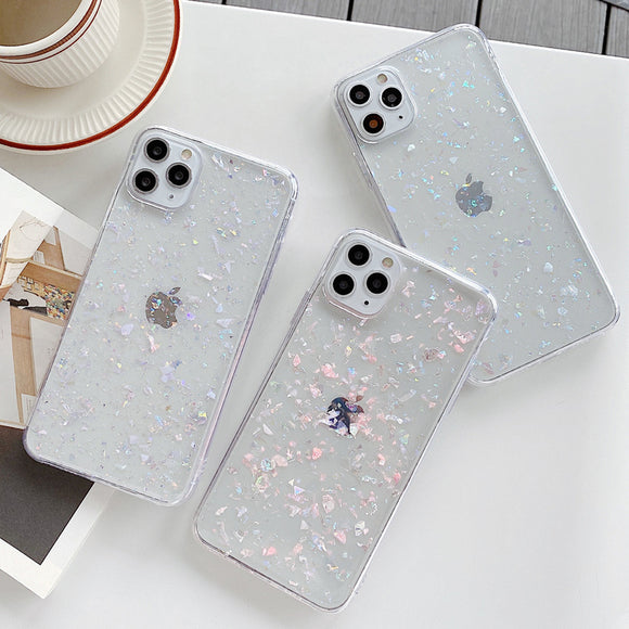 Ladycases - Phone Case Expert - Glitter Crystal Shell Clear Soft Phone Case Back Cover for iPhone SE/11 Pro Max/11 Pro/11/XS Max/XR/XS/X/8 Plus/8/7 Plus/7
